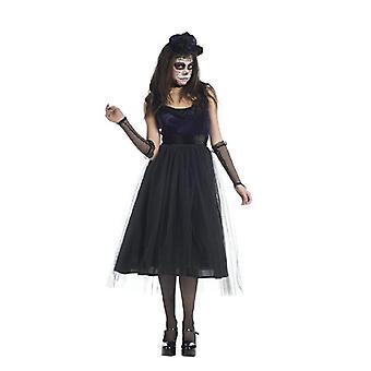 Catrina mexicain Mesdames robe costume Día de los muertos Halloween mariée femmes noires