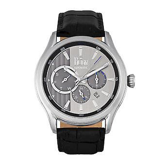 Reign Gustaf Automatic Leather-Band Watch - Black/Silver
