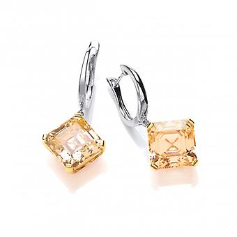 Cavendish French Silver and Citrine CZ Vintage Style Earrings