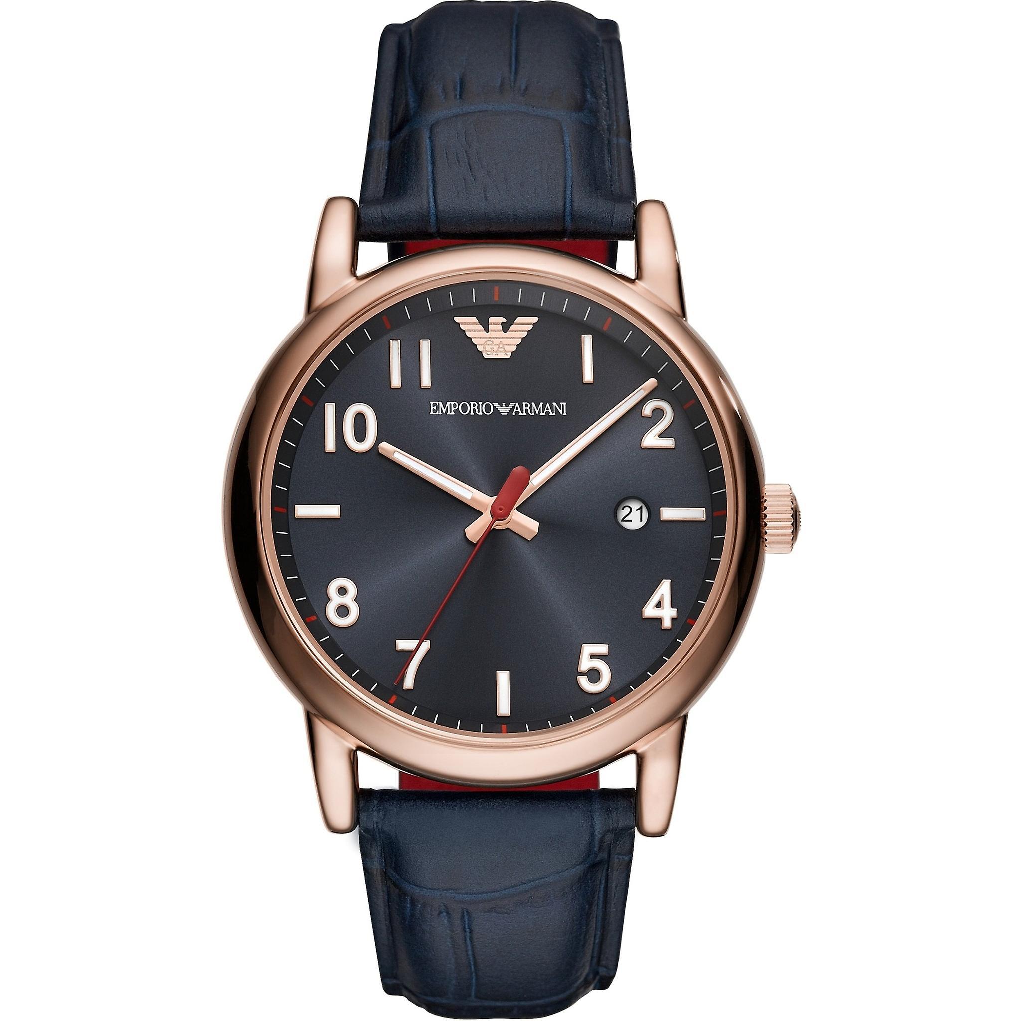 Emporio Armani Ar11135 Blue Dial Blue Leather Strap Men's Watch