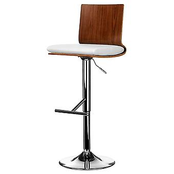 Fusion Living Walnut And White Faux Leather Contemporary Bar Stool