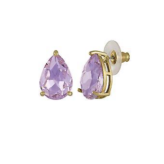 Wieczne kolekcji uwodzenia Teardrop fioletowy fiołek Crystal Gold Tone Stud kolczyki Kolczyki