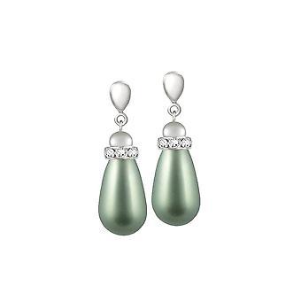 Eternal Collection Beaumont Powder Green Autrichien Pearl Teardrop Silver Tone Drop Clip On Earrings