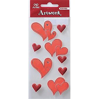 Hearts With Glitter Craft Embellishment By Artoz