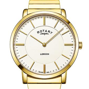 Rotary Mens London Gold Stainless Steel Expanding Bracelet GB02766/03 Watch