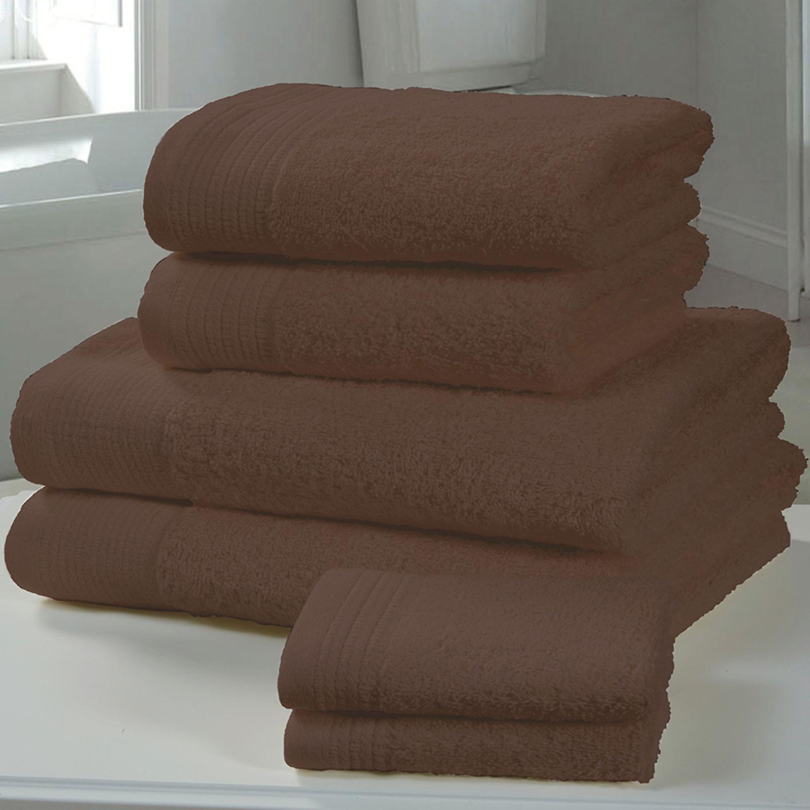 Chatsworth 4 Piece Towel Bale Chocolate- 2 Hand Towels, 2 Bath Towels