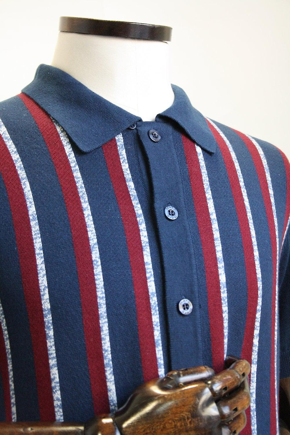 Merc London Wilmot Navy Stripe Button Through Knit