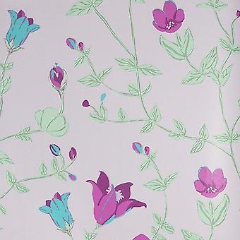Girls Cream Pink Floral Wallpaper Green Leaf Plants Vintage Chic Paste The Wall