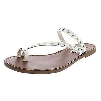 Steve Madden Womens Daria lederen bezaaid platte sandalen wit 8,5 medium (B, M)