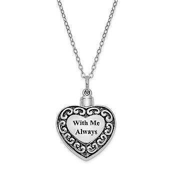 925 Sterling Silver Gift pouch Spring Ring Polished back Rhodium plated finish With Me Always Ash Holder 18inch Necklace