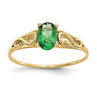 14k Yellow Gold Polished Simulated Synthetic Emerald Ring Measures 6x17mm Jewelry Gifts for Women