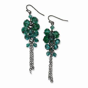 Plata tono pastor gancho negro plating creado simulado turquesa cristal perlas cluster larga gota colgante pendientes joya