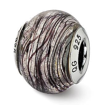 925 sterling silver polerad antik finish italienska Murano glas reflektioner italienska Murano lila ränder glaspärla CH