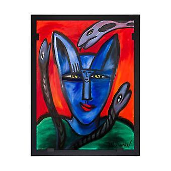 Glass vision-painting-art glass-Catman Design Ulrica Hydman Vallien