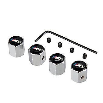 Set of 4 Alumium Anti-Theft Car Tyre Air Dust Valve Stem Cap For BMW