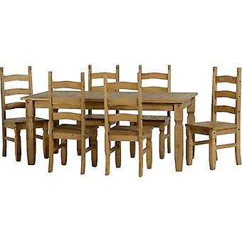 Corona 6' Dining Set - Distressed Gewachste Kiefer