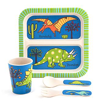 Tyrrell Katz Dinosaur Design 4pc Bamboo Dinner Set For Children