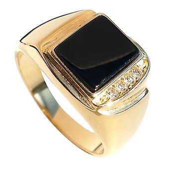 اه! المجوهرات الرجال & ق الأسود الحقيقي ONYX 24k الذهب على حلقة الفولاذ المقاوم للصدأ معلمة مع 4 بلورات جولة رائعة.
