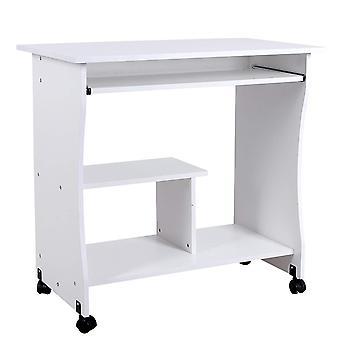 Computertisch auf Rädern mit Tastaturwagen