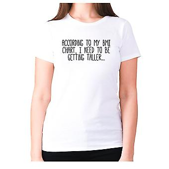 Womens funny gym t-shirt slogan tee ladies workout - According to my BMI chart, I need to be getting taller