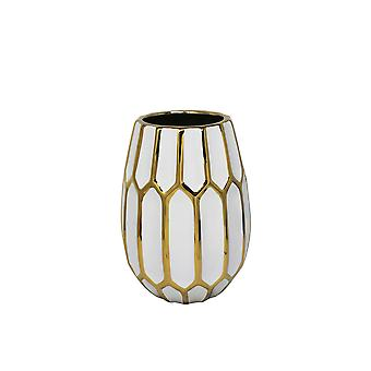 Ceramic Curved Vase with Geometric Bud Design, White and Gold