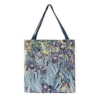 Borsa a tassello shopper Van Gogh-Iris di signare arazzo/Guss-Art-VG-Iris