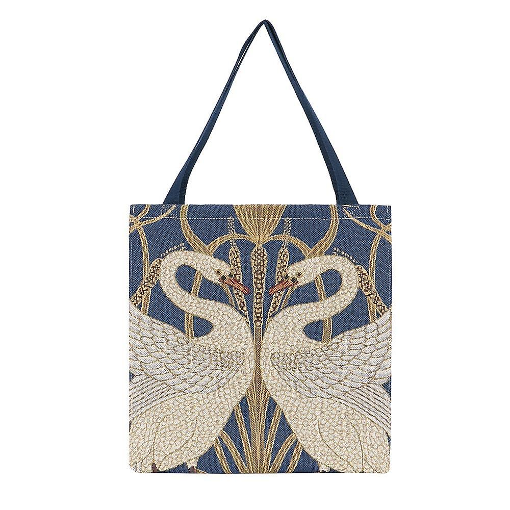 Walter crane - swan shopper gusset bag by signare tapestry / guss-art-wc-swan
