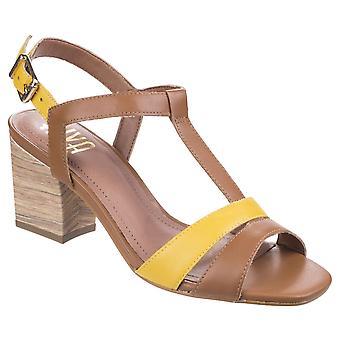 Riva naisten/naisten Palmira T-Bar lohko kallistuneen nahka sandaalit