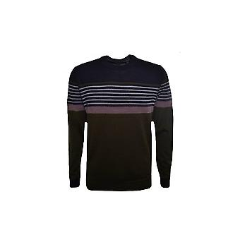 Ted Baker Men's Khaki Giantbu Striped Wool Jumper