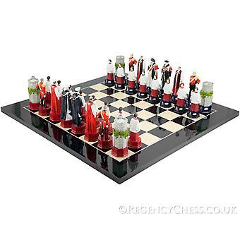 Virallinen H.M. kuningattaren kuusikymentavuotisjuhla Chess Set musta Anegre