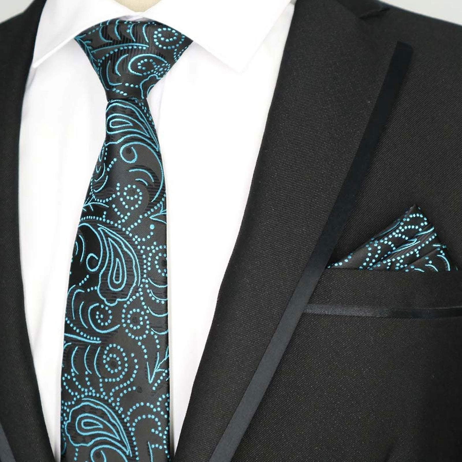 Black & turquoise pattern party pocket square & tie
