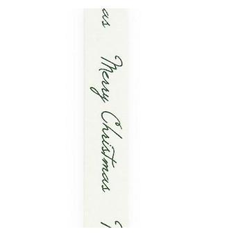 Vivant ribbon cotton Merry Christmas white green 15m x 15mm