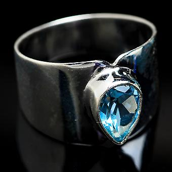 Blue Topaz Ring Size 7 (925 Sterling Silver)  - Handmade Boho Vintage Jewelry RING3755