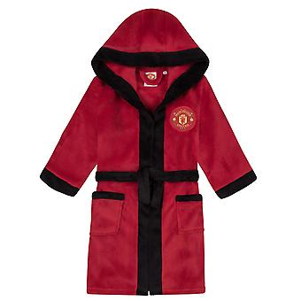 Manchester United FC Officiële Football Boys Hooded Fleece Dressing Gown Robe