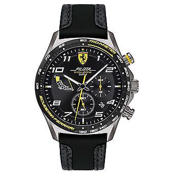Scuderia Ferrari | Men's Pilota | Correia de silicone preto/couro | Relógio Black Dial 0830718