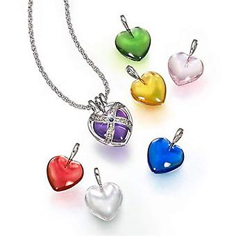 TOC Ladies 7 Interchangeable Genuine Sapphire Caged Heart Pendant On 18 Inch Chain