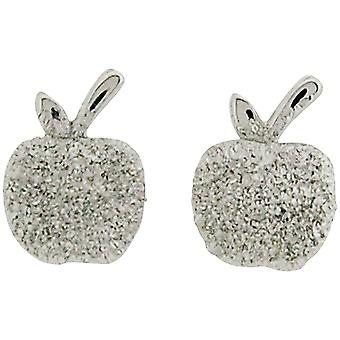 Jo For Girls Sterling Silver Sparkly Apple Stud Earrings