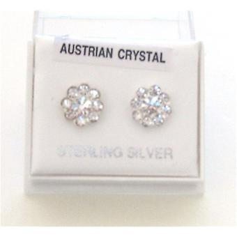 TOC Sterling Silver Clear Crystal Set Flower Stud Earrings 9mm