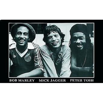 Bob Marley, Peter Tosh, Mick Jagger poster b & w