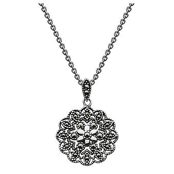 Dew Sterling Silver Embroided Marcasite Flower 18 Necklace 9032MC022