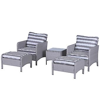 Outsunny 5 Pcs PE Rattan Garden Furniture Set w/ 2 Armchairs 2 Stools Glass Top Table Thick Cushions Wicker Weave Body Chairs Outdoor Seating Comfortable White Grey