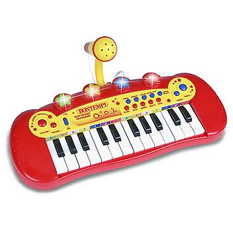 Bontempi Electric Keyboard with Microphone and Flashing Light Show Red