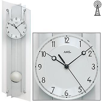 AMS 5261 Wall clock radio radio wall clock with pendulum silver pendulum clock glass aluminium
