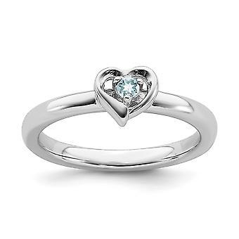 2.25mm 925 Sterling Silver polerad Prong set Rhodium pläterade stapelbara uttryck Aquamarine Love Heart Ring Smycken Gi