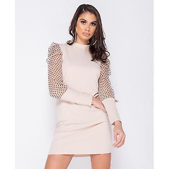 Polka Dot Sheer Puffed - Bodycon Mini Dress - Beige
