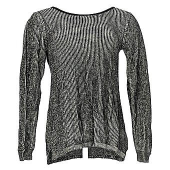 H by Halston Women's Sweater (XXS) Crew Neck Pull Over Black A343552