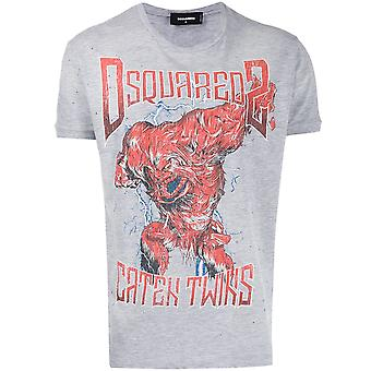 Dsquared2 Ezcr007020 Mænd's Grey Cotton T-shirt