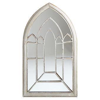 Charles Bentley Decoratieve Rustieke Grote Buitenboog Spiegel Venster Shabby Chic - Cream H112 x W61 x D4cm