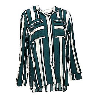 Masseys Women's Top 3/4 Sleeve Button Down Shirt w/ Hi Low Hem Yellow