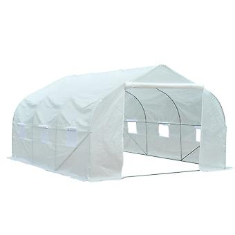 Outsunny 2H x 3.5L x 3W (m) Large Walk-in Outdoor Garden Peak Top Greenhouse Polytunnel with Door and  Windows  White